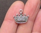 10 Crown Charms Antique Silver Tone - SC1402