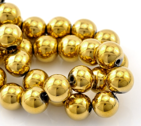 40 Gold Plated ... Gold Hematite Beads