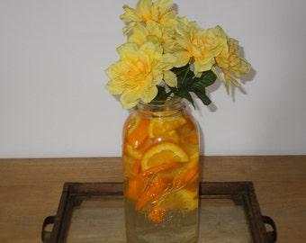 Vintage large mason jar, 2 quart, square clear glass, farmhouse decor, flower vase, cottage decor, collectible glass, wedding decor