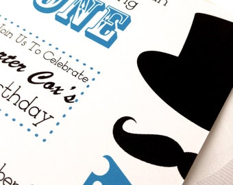 Little Man  Mustache, Bow Tie, and Top Hat Baby Shower or Birthday Invitation