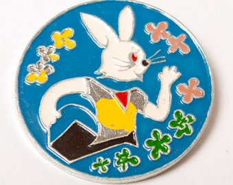 Vintage big pin, The hare, character of Russian cartoon Nu Pogodi.  Badge, from USSR