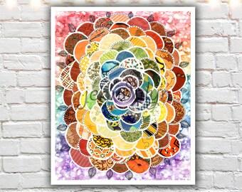 mixed media collage art, childrens art, rainbow art, colorful rainbow print, rainbow decor, fine art print, childrens room art