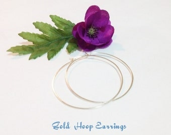 "Large Gold Hoop Earrings, Gold hammered Hoops, 1.5"" Hoops, 2.25"" Hoops, 2.5"" Hoop Earrings, 3"" Hoop Earrings, Smooth Thin Gold Hoops,"
