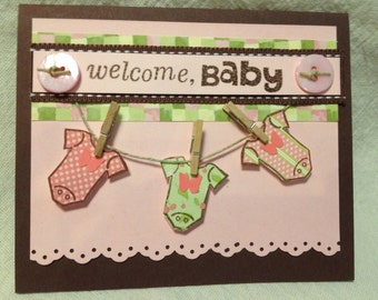 Baby Girl Card, Welcome Baby Card, Handmade, Embellished Card (Box 1a)