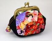 Coin Purse Japanese Geisha & Floral