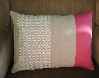 Lumbar Pillow Cover Tan White and Pink Decorative Pillow Travel Pillow 12x16 Cushion Cover