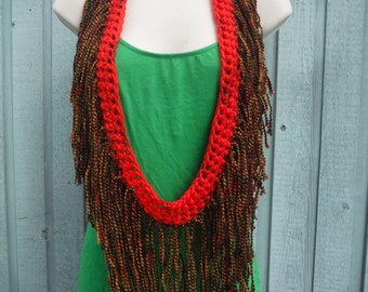 Tank Top Scarf Cowl in Hot Red and Harvest