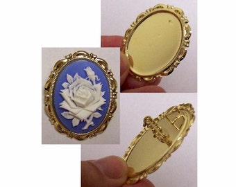 brooch blank pendant blank 25x18mm Bright Gold Pendant and Brooch Setting with Pin and Bail frame or mount jewelry findings 683x
