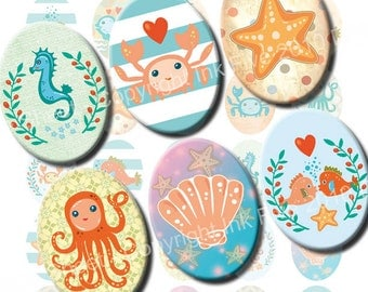 Under the Sea 30x40 mm ovals. Digital Collage Sheet for cabochons, cameos, pendants. Printable sea 30 x 40 mm oval images. Instant download