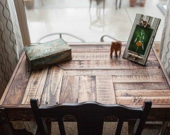 Repurposed Pallet Wood Desk with Drawer and Metal Legs