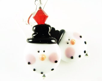 Christmas Earrings, Snowman Earrings, Lampwork Earrings, Christmas Jewelry, Xmas Glass Bead Earrings, Unique Earring, White Lampwork Jewelry