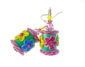Glass Bead Earrings, Lampwork Earrings, Blue Barrel Earrings, Dangle Earrings, Beadwork Earrings, Yellow Flower Earrings, Flower Earrings