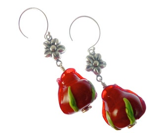 Red Rose Lampwork Earrings, Handmade Beaded Earrings with Silver Flower, Glass Bead Lampwork Jewelry, Artisan Glass Bead Drop Earrings