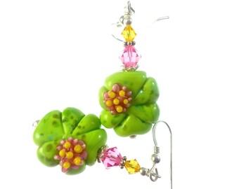 Green Lampwork Earrings, Glass Bead Earrings, Flower Dangle Earrings, Lampwork Jewelry, Mod Beaded Earrings, Beadwork Earrings