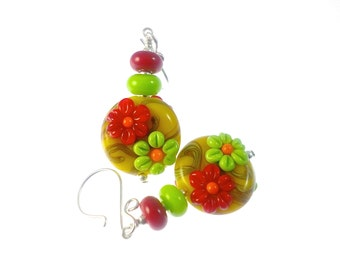 Lampwork Earrings, Colorful Glass Bead Earrings, Red Green Flower Earrings, Yellow Dangle Earrings, Beadwork Earrings, Lampwork Jewelry