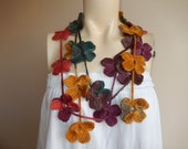 Flower Necklace Scarf-Multicolor Lariat Scarf-Necklace Lariat Scarf-Crochet Scarf-Autumn  Scarf