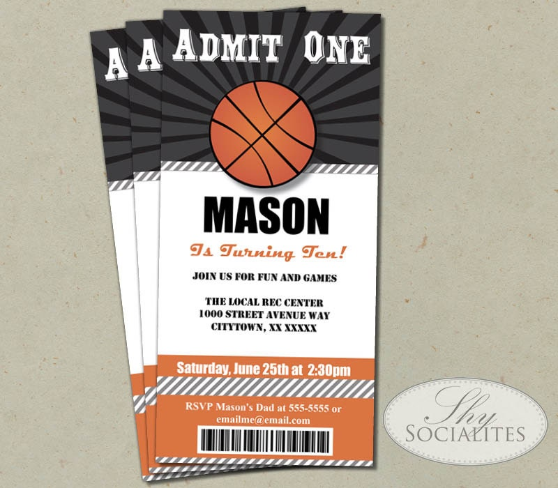 BASKETBALL TICKET INVITATION Admit One Basketball Birthday – Sports Ticket Template
