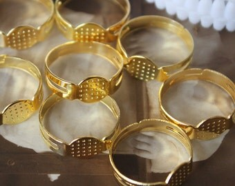 500PCS Wholesale Adjustable Gold plated Blanks Rings jewelry ring With 8mm Pad -(RINGSS-4C)