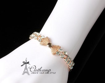 18K Rose Gold Plated  bracelet  bangle Bridal Wedding, Mothers Jewelry, Birthday Birthstone Jewelry (JPCP-B)