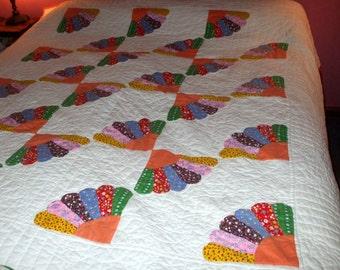 Quilt Handmade Hand Quilted Half Dresden Fan Calico Patchwork Applique Vintage Bedspread Comforter 1970's