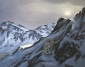 Snow Leopard wildlife animal landscape 30x40 oils on canvas painting by RUSTY RUST / S-102