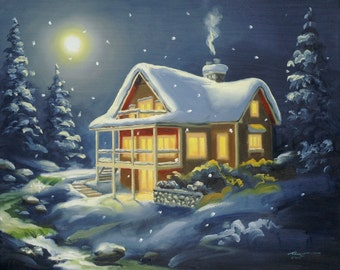 Cabin snow 24x30 original oils on canvas painting by RUSTY RUST / M-346