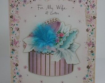 Vintage Easter Day Greeting Card To My Wife Large Hat Box With Aqua Feather Ephemera Scrap Booking