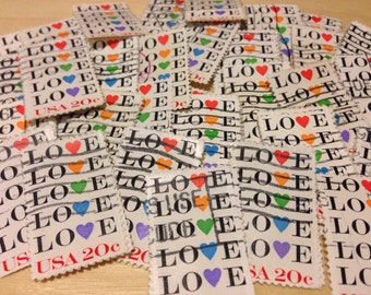 100 love Stamps - 100 used postage stamps - love hearts