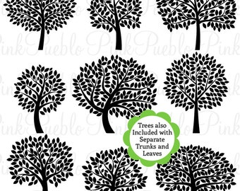 Tree Silhouettes Clipart Clip Art 2, Family Tree Clipart Clip Art - Commercial and Personal Use