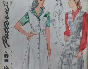 Vintage Dress Pattern 1940s Simplicity 4333 Size 16 Bust 34 Factory Folded