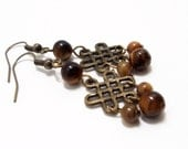 Tigers Eye Earring- Wire Wrap Earring - Gemstone Dangles- Tiger Eye Dangle- Brass Dangle- Brown Earring- Brown Stone Earring- Celtic Earring