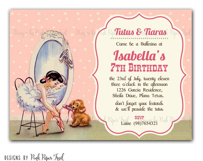 Pretty Vintage Ballerina Invitation, Girl Birthday Card, I will customize for you, Print your own