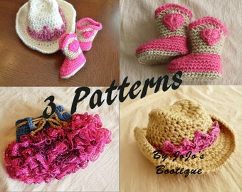 PDF Package - Baby Cowgirl Hats, Boots and Skirt PATTERNS - Baby Cowgirl Hat with Tiara, Boots and Ruffled Skirt Patterns -by JoJosBootiqueb