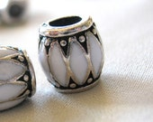 Black and White Enamel with Silver metal Chevron pattern large hole beads, 10mm, hole diameter 5mm, package of 5