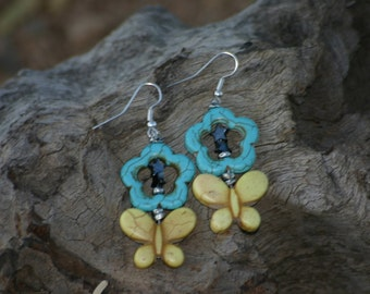 Butterfly Dangle Earrings Turquoise Earrings Flower Earrings, Blue & Yellow Jewelry, Teens, Prom, Girly Girl
