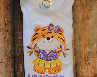Girl Tiger Cheerleader Embroidered Personalized Shirt or Bodysu