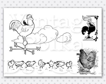 Vintage Clip Art Rooster Chicks Chicken Clipart Weather Vane Rooster Collage Sheet Graphics Printable Digital Instant Download