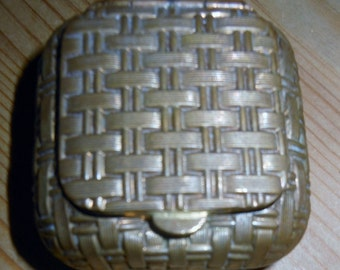 FRENCH Basket Weave Metal Pill / Trinket Box c 1920