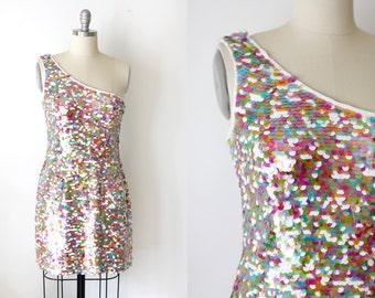 Sale Vintage One Shoulder Sequin Mini Dress / Party Dress / Oleg Cassini / S
