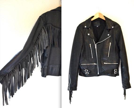 80er jahre schwarze lederjacke mit fransen vintage schwarz. Black Bedroom Furniture Sets. Home Design Ideas
