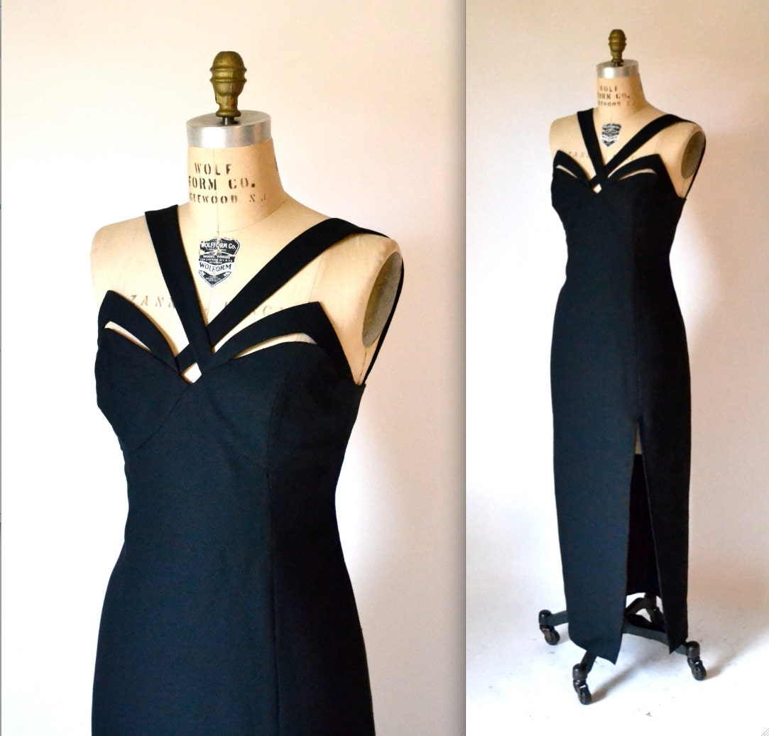 Black 90s Prom Dress with Cut outs size Small Medium 90s