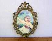 Vintage Ornate Metal Frame Print of Child Italy