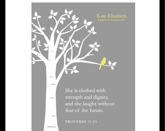 """Christening Gift Baptism Gift She Is Clothed With Strength and Dignity Scripture Girl Nursery Decor Baby Gift Yellow Gray - One 8""""x10"""" Print"""