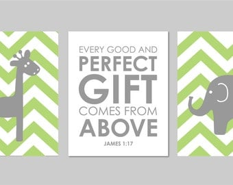 """Every Good and Perfect Gift Comes From Above Elephant Nursery Giraffe Chevron Nursery Scripture Print You choose Colors - 8""""x10"""""""