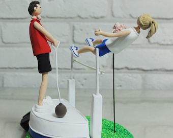 Athlete field track custom wedding cake topper decoration gift keepsake -  High jump player