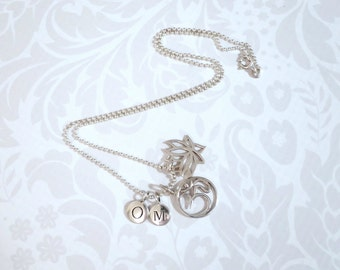 Yoga OM Charm Necklace Sterling Silver, Silver Lotus Om Jewelry, 925 Silver Charms w Bead Ball Necklace, Spiritual Gift Ideas