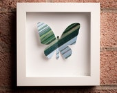 Stripes: Framed Paper Butterfly with Green Diagonal Stripes
