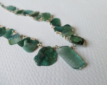 Indicolite Watermelon Tourmaline Slices Blue Green Gemstone Handmade Necklace Wire Wrapped with Sterling Silver