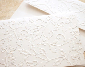 Christmas Cards Set Holly - Embossed Cards with Matching Embossed Envelopes Holly Christmas Cards