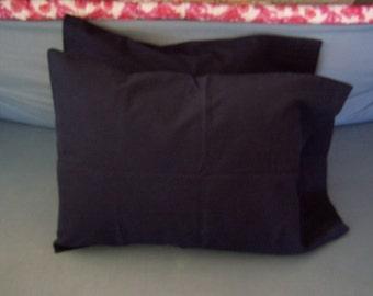 Along About Midnight-deep midnight blue repurposed cotton sheet, handmade travel pillow case pair fit 12x16 lumbar pillow - crazyadsteam